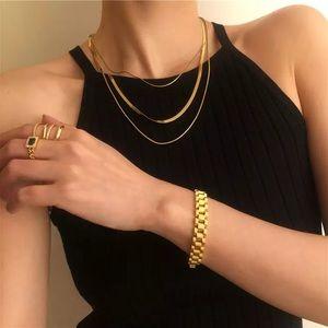 18k Gold 3 Layer Snakebone Statement Necklace